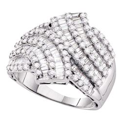 Round Baguette Diamond Bypass Fashion Ring 1-3/4 Cttw 14kt White Gold