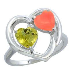 1.31 CTW Lemon Quartz & Diamond Ring 10K White Gold - REF-23M3K
