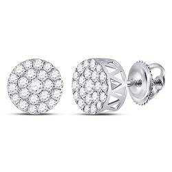 Diamond Circle Frame Cluster Earrings 1.00 Cttw 14kt White Gold