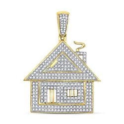 Mens Diamond Trap House Charm Pendant 3/4 Cttw 10kt Yellow Gold