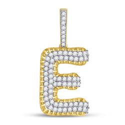 "Mens Diamond ""E"" Charm Pendant 1-3/8 Cttw 10kt Yellow Gold"