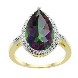 5.55 CTW Mystic Topaz & Diamond Ring 10K Yellow Gold - REF-34M8K