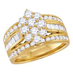 Diamond Right Hand Cluster Ring 2.00 Cttw 14kt Yellow Gold
