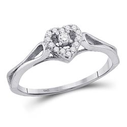 Diamond Heart Promise Bridal Ring 1/10 Cttw 10kt White Gold