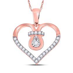 Diamond Heart Knot Pendant 1/5 Cttw 10kt Rose Gold