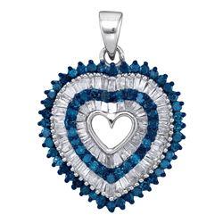 Round Blue Color Enhanced Diamond Heart Outline Pendant 7/8 Cttw 10kt White Gold