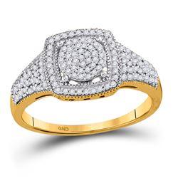 Diamond Square Cluster Milgrain Ring 1/3 Cttw 10kt Yellow Gold