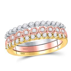 Diamond 3-Piece Stackable Band Ring Set 1/2 Cttw 10kt Tri-tone Gold