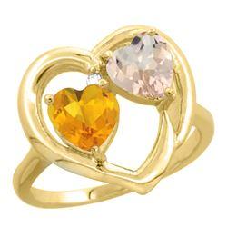 1.91 CTW Diamond, Citrine & Morganite Ring 14K Yellow Gold - REF-36X6M