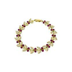 Genuine 12 ctw Opal & Ruby Bracelet 14KT Yellow Gold - REF-200W8Y