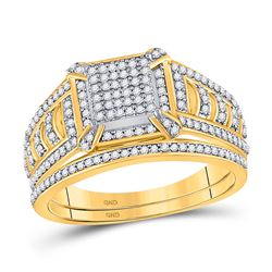 Diamond Square Cluster Bridal Wedding Engagement Ring Band Set 1/2 Cttw 10kt Yellow Gold