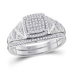 Diamond Square Bridal Wedding Engagement Ring Band Set 1/3 Cttw 10kt White Gold