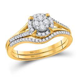 Diamond Cluster Bridal Wedding Engagement Ring Band Set 1/3 Cttw 10k Yellow Gold