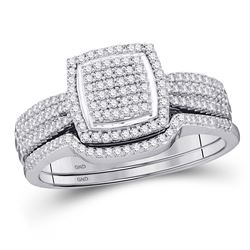 Diamond Square Cluster Bridal Wedding Engagement Ring Band Set 1/2 Cttw 10kt White Gold