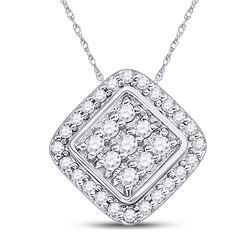 Diamond Diagonal Square Frame Cluster Pendant 1/4 Cttw 10kt White Gold