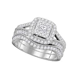 Diamond Square Halo Split-shank Bridal Wedding Engagement Ring Band Set 1.00 Cttw 14kt White Gold