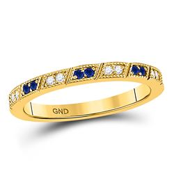 Round Blue Sapphire Diamond Milgrain Stackable Band Ring 1/4 Cttw 10kt Yellow Gold