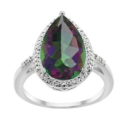 5.55 CTW Mystic Topaz & Diamond Ring 14K White Gold - REF-44Y9V