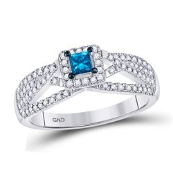 Blue Color Enhanced Diamond Solitaire Bridal Wedding Engagement Ring 1/2 Cttw 14kt White Gold