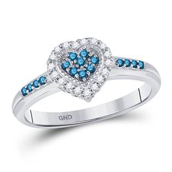 Round Blue Color Enhanced Diamond Heart Cluster Ring 1/4 Cttw 14kt White Gold