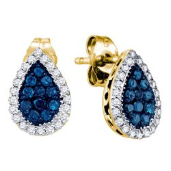 Round Blue Color Enhanced Diamond Teardrop Cluster Earrings 1/2 Cttw 10kt Yellow Gold