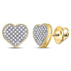 Diamond Heart Cluster Screwback Earrings 1/5 Cttw 10kt Yellow Gold