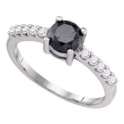 Round Black Color Enhanced Diamond Solitaire Bridal Wedding Engagement Ring 1.00 Cttw 10kt White Gol