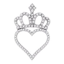 Diamond Crown Heart Pendant 1/3 Cttw 10kt White Gold