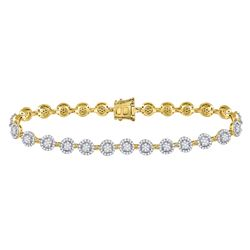 Diamond Halo Cluster Tennis Bracelet 2.00 Cttw 14kt Yellow Gold