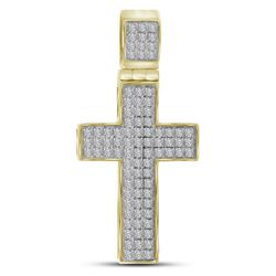 Mens Diamond Cross Charm Pendant 1/4 Cttw 10kt Yellow Gold