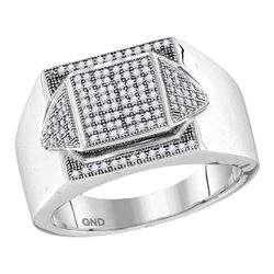 Mens Diamond Elevated Square Cluster Ring 1/3 Cttw 10kt White Gold