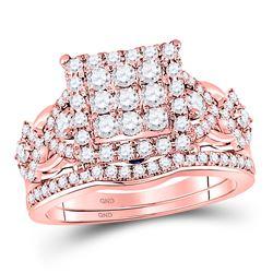 Diamond Bridal Wedding Engagement Ring Band Set 1-1/4 Cttw 14kt Rose Gold