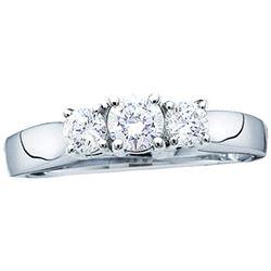 Diamond 3-stone Bridal Wedding Engagement Ring 1.00 Cttw 14kt White Gold