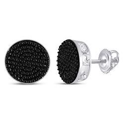 Unisex Round Black Color Enhanced Diamond Cluster Earrings 1/2 Cttw 10kt White Gold