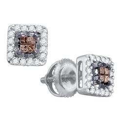 Brown Diamond Stud Square Screwback Earrings 1/3 Cttw 10k White Gold
