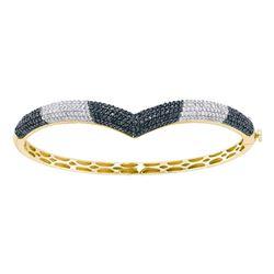Round Black Color Enhanced Diamond Bangle Bracelet 1-3/4 Cttw 14kt Yellow Gold
