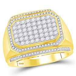 Mens Diamond Octagon Cluster Ring 1-3/4 Cttw 14kt Yellow Gold