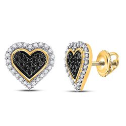 Round Black Color Enhanced Diamond Heart Cluster Stud Earrings 1/4 Cttw 10kt Yellow Gold
