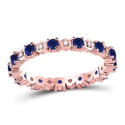 Round Blue Sapphire Diamond Eternity Band Ring 1.00 Cttw 10kt Rose Gold