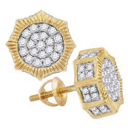 Mens Diamond Starburst 3D Cluster Stud Earrings 3/4 Cttw 10kt Yellow Gold