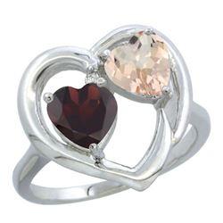1.91 CTW Diamond, Garnet & Morganite Ring 14K White Gold - REF-36M6K