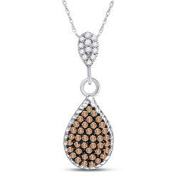 Round Brown Diamond Teardrop Cluster Pendant 1/4 Cttw 10kt White Gold