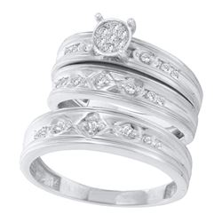 His & Hers Diamond Cluster Matching Bridal Wedding Ring Band Set 1/4 Cttw 10kt White Gold
