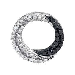 Round Black Color Enhanced Diamond Circle Pendant 1/6 Cttw 10kt White Gold
