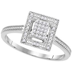 Diamond Square Yellow-tone Cluster Ring 1/10 Cttw 10kt White Gold