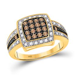 Brown Diamond Cluster Square-shape Cocktail Ring 1/2 Cttw 10k Yellow Gold