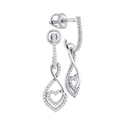 Diamond Heart Dangle Screwback Earrings 1/4 Cttw 10kt White Gold