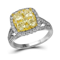 Round Yellow Diamond Cluster Bridal Wedding Engagement Ring 2-1/5 Cttw 14kt White Gold