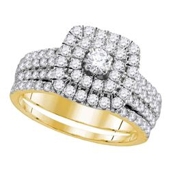 Diamond Double Halo Bridal Wedding Engagement Ring Band Set 1-3/4 Cttw 14kt Yellow Gold