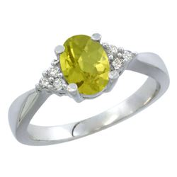 1.06 CTW Lemon Quartz & Diamond Ring 10K White Gold - REF-28A3X